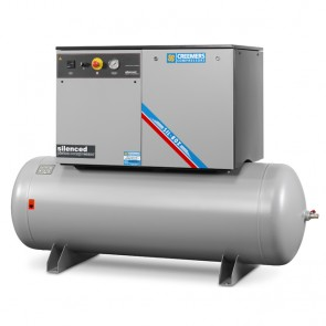 Creemers supergeluidgedempte zuigercompressor SGC (15 bar) op persluchtketel